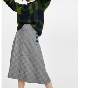 Zara Checked Midi Skirt with Buttons